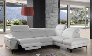 Canapé fabrication italienne cuir blanc