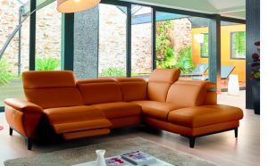 Canapé fabrication italienne cuir orange
