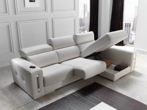 Canapé salon Sabrina cuir ou tissu - rangement