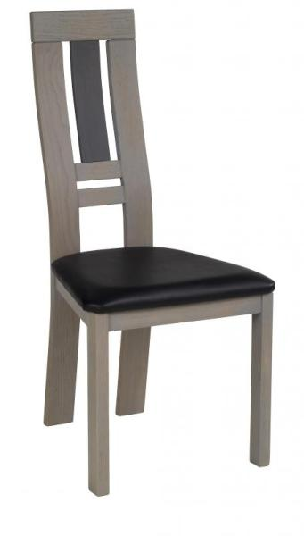 Chaise salle à manger grise assise noire
