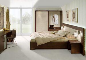 Chambre rotin beige et marron