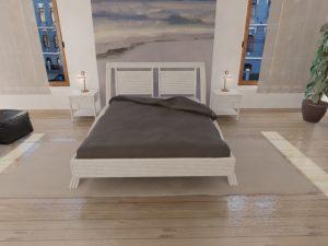 Chambre rotin blanc effet bambou - lit