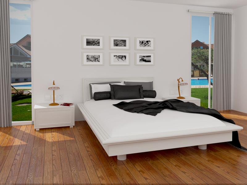 Chambre rotin blanche avec encadrement