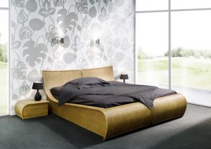Ensemble meubles Chambre rotin effet vague marron clair
