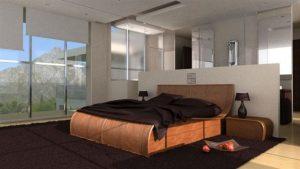 Ensemble meubles Chambre rotin effet vague marron