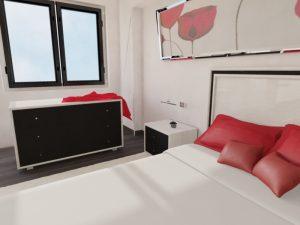 Chambre rotin moderne - meuble et chevet