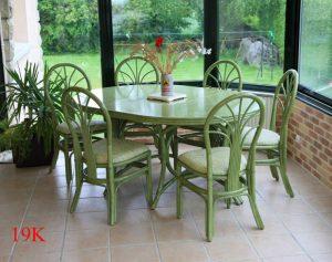 Table de salle à manger Séjour en rotin vert