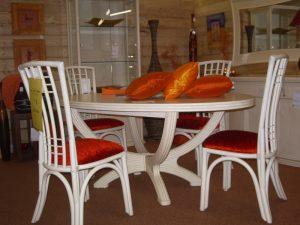 TABLE DESSUS BOIS AVEC ALLONGE - blanc rouge